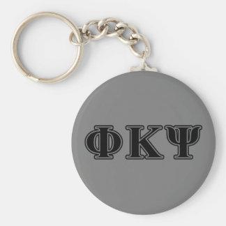 Letras negras de Kappa PSI de la phi Llavero Redondo Tipo Pin