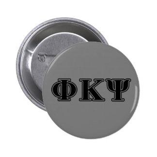 Letras negras de Kappa PSI de la phi Pin Redondo De 2 Pulgadas