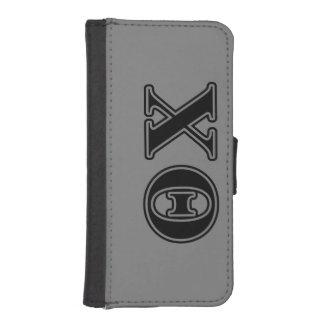 Letras negras de la ji de la theta fundas billetera de iPhone 5