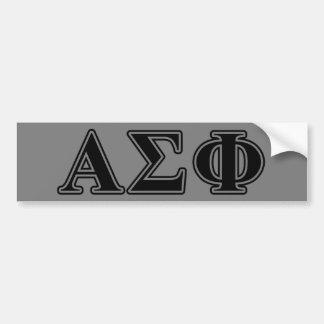 Letras negras de la phi alfa de la sigma etiqueta de parachoque