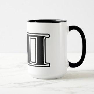 Letras negras de la sigma pi taza