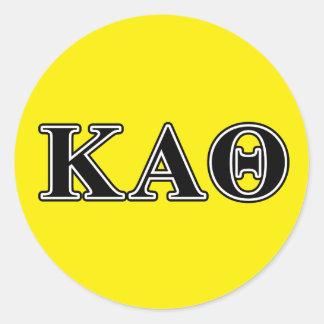 Letras negras de la theta alfa de Kappa Pegatina Redonda