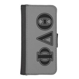 Letras negras de la theta del delta de la phi fundas tipo billetera para iPhone 5