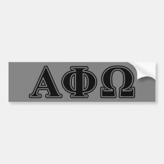 Letras negras de Omega de la phi alfa Pegatina De Parachoque