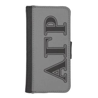 Letras negras de rho gamma alfa cartera para iPhone 5