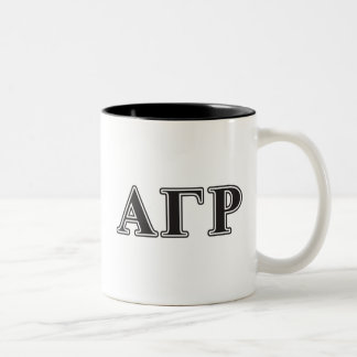 Letras negras de rho gamma alfa taza de café de dos colores