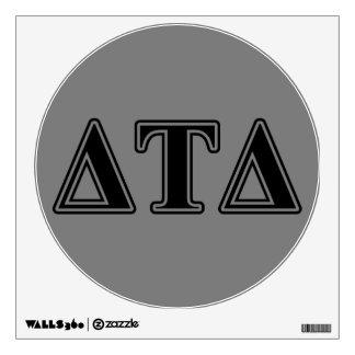 Letras negras del delta del Tau del delta