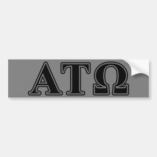 Letras negras del Tau Omega de la alfa Etiqueta De Parachoque