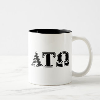 Letras negras del Tau Omega de la alfa Taza De Café De Dos Colores