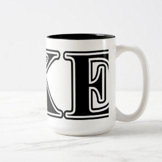Letras negras épsilones de Kappa del delta Taza De Café De Dos Colores