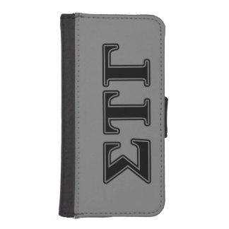 Letras negras gammas del Tau de la sigma Billetera Para iPhone 5