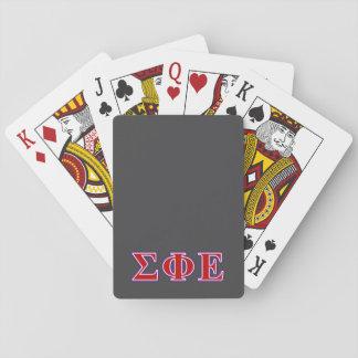 Letras púrpuras de la phi de la sigma y rojas baraja de cartas