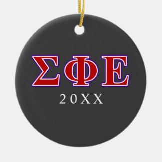 Letras púrpuras de la phi de la sigma y rojas ornamento para arbol de navidad