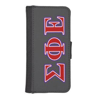 Letras púrpuras de la phi de la sigma y rojas fundas billetera de iPhone 5
