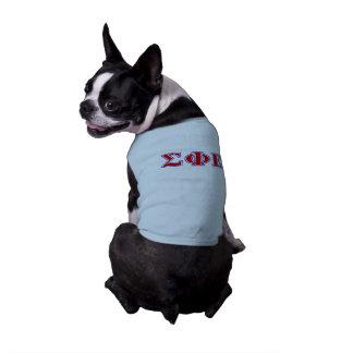 Letras púrpuras de la phi de la sigma y rojas playera sin mangas para perro