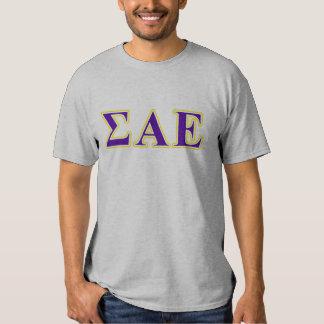 Letras púrpuras de la sigma y amarillas épsilones camisas