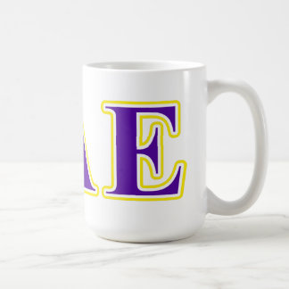Letras púrpuras de la sigma y amarillas épsilones taza de café
