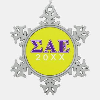 Letras púrpuras épsilones alfa de la sigma adorno de peltre en forma de copo de nieve