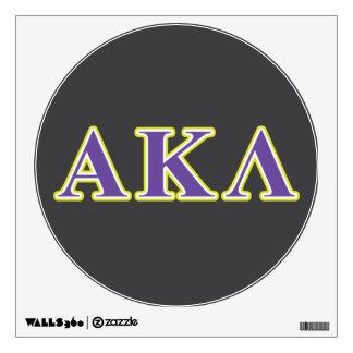 Letras púrpuras y amarillas de la lambda alfa de