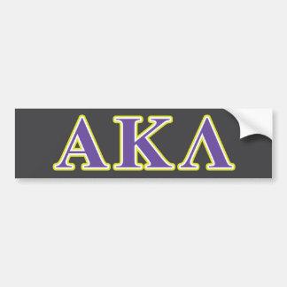Letras púrpuras y amarillas de la lambda alfa de etiqueta de parachoque