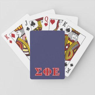 Letras rojas épsilones de la phi de la sigma barajas de cartas