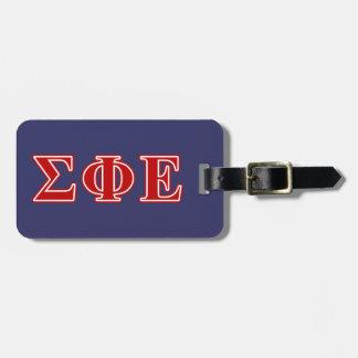 Letras rojas épsilones de la phi de la sigma etiquetas para maletas