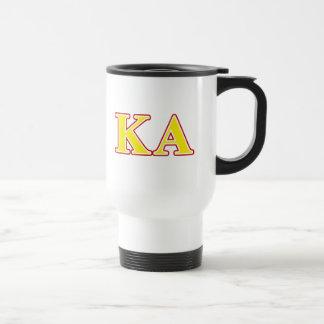 Letras rojas y amarillas de la orden alfa de Kappa Taza Térmica