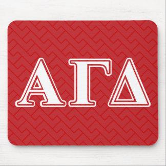 Letras rojas y blancas del delta gamma alfa alfombrilla de ratones