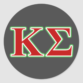 Letras rojas y verdes de la sigma de Kappa Pegatina Redonda