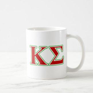 Letras rojas y verdes de la sigma de Kappa Taza