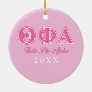 Letras rosadas alfa de la phi de la theta adorno navideño redondo de cerámica
