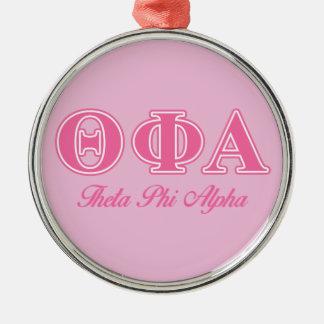 Letras rosadas alfa de la phi de la theta adorno navideño redondo de metal