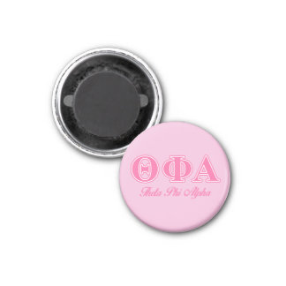 Letras rosadas alfa de la phi de la theta imán redondo 3 cm