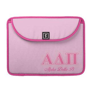 Letras rosadas alfa del delta pi fundas para macbook pro