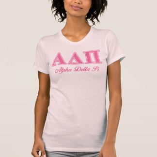 Letras rosadas alfa del delta pi remera