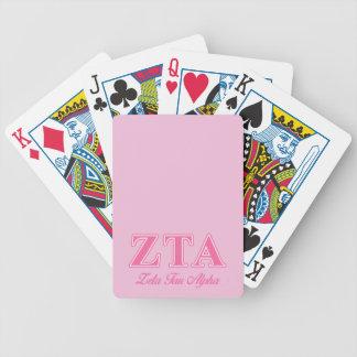 Letras rosadas alfa del Tau de la zeta Baraja De Cartas