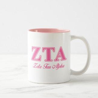 Letras rosadas alfa del Tau de la zeta Taza Dos Tonos