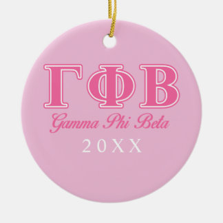 Letras rosadas beta de la phi gamma adorno navideño redondo de cerámica
