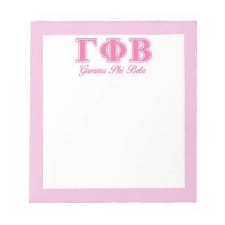 Letras rosadas beta de la phi gamma blocs de notas