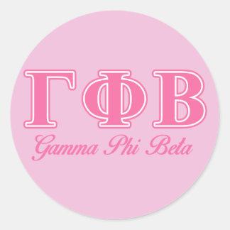Letras rosadas beta de la phi gamma etiquetas redondas