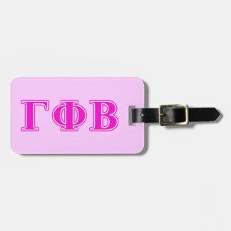 Letras rosadas brillantes beta de la phi gamma etiqueta para maleta