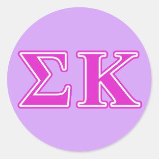 Letras rosadas de Kappa de la sigma Pegatina Redonda