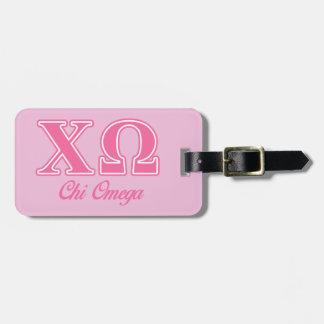 Letras rosadas de Omega de la ji Etiqueta De Equipaje