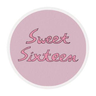 Letras rosadas del dulce dieciséis papel de azúcar redondo