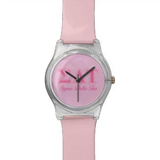 Letras rosadas del Tau del delta de la sigma Relojes De Pulsera