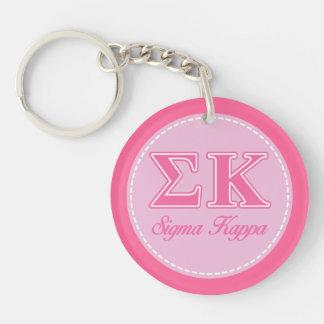 Letras rosas claras de Kappa de la sigma Llaveros
