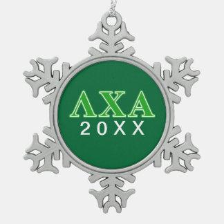 Letras verdes alfa de la ji de la lambda adorno de peltre en forma de copo de nieve