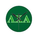 Letras verdes alfa de la ji de la lambda relojes