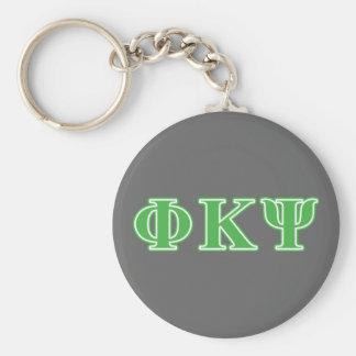 Letras verdes de Kappa PSI de la phi Llavero Redondo Tipo Pin