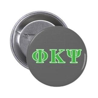 Letras verdes de Kappa PSI de la phi Pin Redondo De 2 Pulgadas